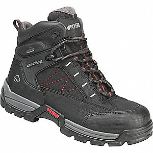 "6""H Men's Work Boots, Composite Toe Type, Man Made Upper Material, Black, Size 8EW"