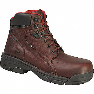 "6""H Men's Work Boots, Composite Toe Type, Leather Upper Material, Brown, Size 10-1/2M"