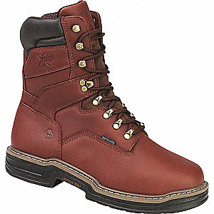 "8""H Men's Work Boots, Steel Toe Type, Leather Upper Material, Brown, Size 7-1/2M"