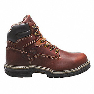 "6""H Men's Work Boots, Steel Toe Type, Leather Upper Material, Brown, Size 7-1/2EW"