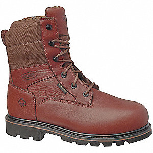 "8""H Men's Work Boots, Composite Toe Type, Leather Upper Material, Brown/Dark Brown, Size 14M"