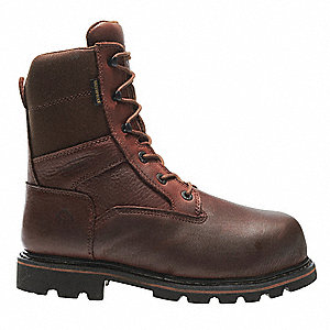 "8""H Men's Work Boots, Composite Toe Type, Leather Upper Material, Brown/Dark Brown, Size 8EW"