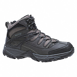 "3""H Men's Hiking Boots, Steel Toe Type, Leather Upper Material, Black/Gray, Size 7-1/2M"