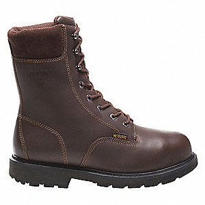 "8""H Men's Work Boots, Steel Toe Type, Leather Upper Material, Brown, Size 11EW"