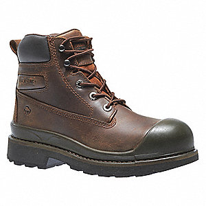 "6""H Men's Work Boots, Steel Toe Type, Leather Upper Material, Brown, Size 13EW"