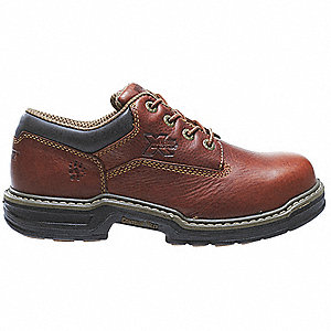 "4""H Men's Oxford Shoes, Steel Toe Type, Leather Upper Material, Brown, Size 14M"