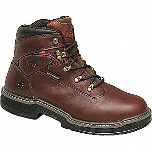 "6""H Men's Work Boots, Steel Toe Type, Leather Upper Material, Dark Brown, Size 7-1/2M"