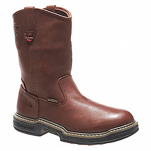 "10""H Men's Wellington Boots, Steel Toe Type, Leather Upper Material, Dark Brown, Size 8-1/2M"