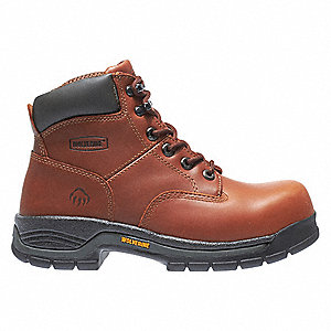 "6""H Men's Work Boots, Steel Toe Type, Leather Upper Material, Brown, Size 14EW"
