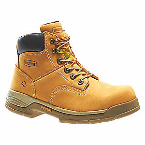 "6""H Men's Work Boots, Steel Toe Type, Leather Upper Material, Wheat, Size 8-1/2EW"