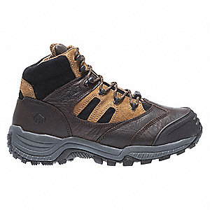 "3""H Men's Hiking Boots, Composite Toe Type, Leather Upper Material, Brown/Black, Size 14M"
