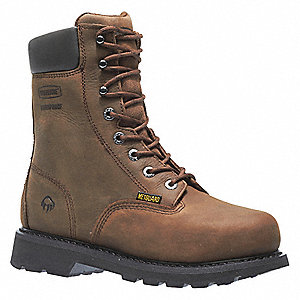 "8""H Men's Work Boots, Steel Toe Type, Leather Upper Material, Brown, Size 8EW"