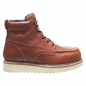 "6""H Men's Work Boots, Steel Toe Type, Leather Upper Material, Brown, Size 8M"