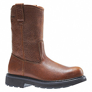 "10""H Men's Wellington Boots, Steel Toe Type, Leather Upper Material, Brown, Size 13EW"