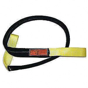 8 ft. Heavy-Duty Nylon Flat Eye and Eye Web Sling with 6400 lb. Vertical Hitch Capacity, Yellow/Blac