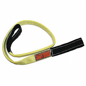 4 ft. Heavy-Duty Nylon Flat Eye and Eye Web Sling with 3200 lb. Vertical Hitch Capacity, Yellow/Blac