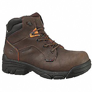 "6""H Men's Work Boots, Composite Toe Type, Leather Upper Material, Brown, Size 8EW"