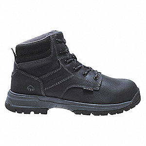 "6""H Men's Work Boots, Composite Toe Type, Leather Upper Material, Black, Size 9M"
