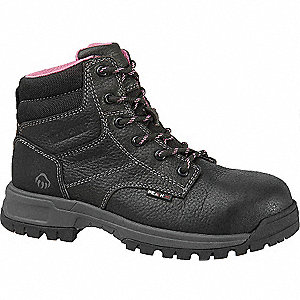 "6""H Women's Work Boots, Composite Toe Type, Leather Upper Material, Black, Size 7-1/2W"