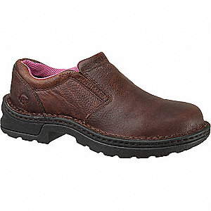 "6""H Women's Work Shoes, Steel Toe Type, Leather Upper Material, Brown, Size 6W"