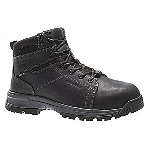 "6""H Men's Work Boots, Composite Toe Type, Leather Upper Material, Black, Size 7M"