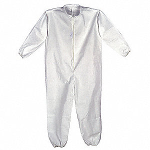 Collared Disposable Coveralls with Elastic Cuff, White, L, Polypropylene SMS