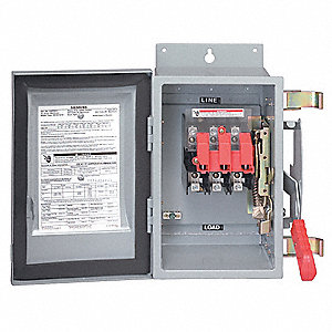 Fusible 600VAC/DC Solar Safety Disconnect Switch, Negative, Aluminum Alloy, 100 Amps
