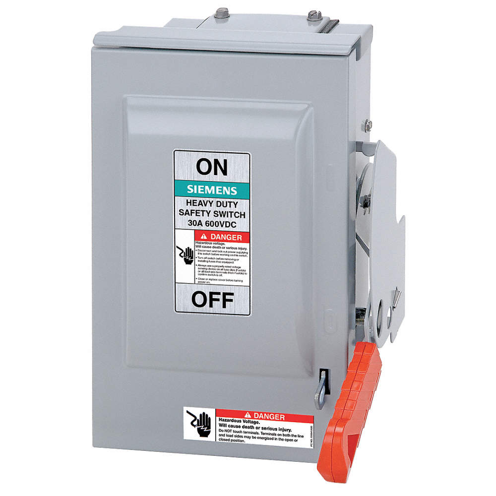 Siemens Fusible 600vacdc Solar Safety Disconnect Switch Negative