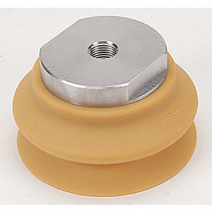 100mm Urethane Rubber Large Bellows Vacuum Pad Assembly, Brown