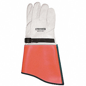 Elec. Glove Protector,8,White/Orange,PR
