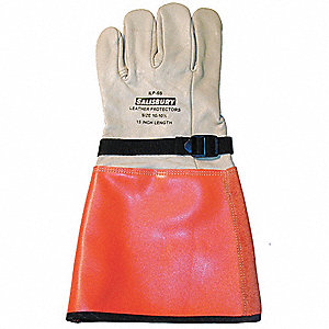 "Electrical Glove Protector, White/Orange, Import Cowhide, 15"" Length"