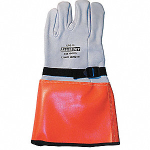 "Electrical Glove Protector, White/Orange, Import Goatskin, 14"" Length"
