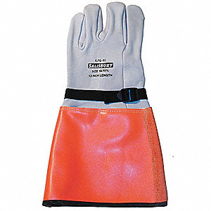 "Electrical Glove Protector, White/Orange, Import Goatskin, 15"" Length"
