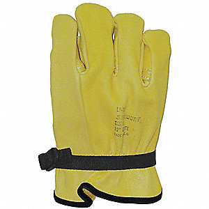 "Electrical Glove Protector, Yellow, Domestic Cowhide, 10"" Length"