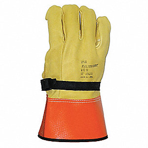 "Electrical Glove Protector, Yellow/Orange , Domestic Cowhide, 12"" Length"