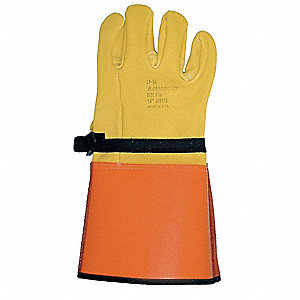Elec Glove Protector,9-1/2,Ylw/Orange,PR
