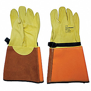 "Electrical Glove Protector, Yellow/Orange, Domestic Cowhide, 15"" Length"