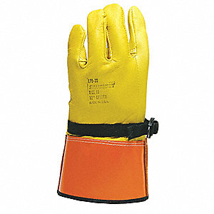 "Electrical Glove Protector, Yellow/Orange, Domestic Goatskin, 12"" Length"