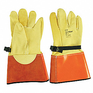 "Electrical Glove Protector, Yellow/Orange, Domestic Goatskin, 13"" Length"