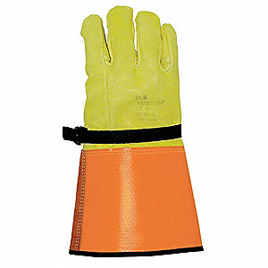 "Electrical Glove Protector, Yellow/Orange, Domestic Goatskin, 14"" Length"