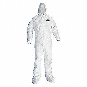 COVERALL A45 HOOD/BOOT WHITE LG