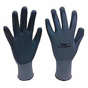 13 Gauge Flat Polyurethane Coated Gloves, Glove Size: S, Gray/Gray