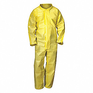 Coveralls with Elastic Cuff, Chem Basic Material, Yellow, 2XL