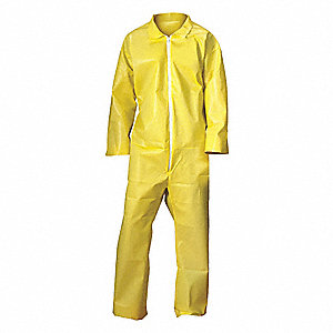 Coveralls with Open Cuff, Chem Basic Material, Yellow, M