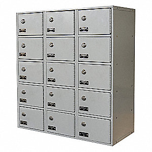 Light Gray Cell Phone Locker, (3) Wide, (5) Tier, Openings: 15, Lock: Keyed