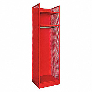 Red Galvanneal Steel Gear Locker, Assembled, (1) Wide, (1) Tier, Opening Width: 22""