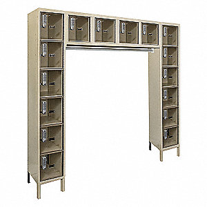 "Tan Box Locker Unit with Coat Rod, (6) Wide, (6) Tier , Openings: 16, 72"" W X 18"" D X 78"" H"