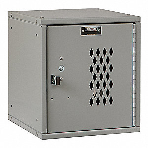 "Light Gray Box Locker, (1) Wide, (1) Tier , Openings: 1, 11-5/16"" W X 12"" D X 12-11/16"" H"