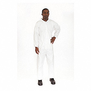 Collared Coverall,Elastic,White,3XL,PK25