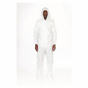 Hooded Coverall w/Boots,White,3XL,PK25